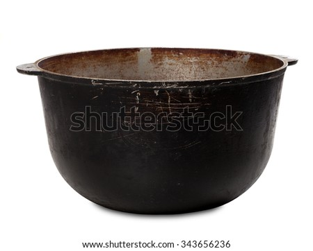 Old dirty big pot isolated on white background - stock photo