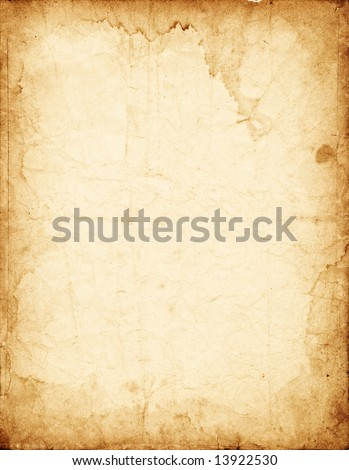 Old dirty crumpled vintage paper with stained dark borders - stock photo