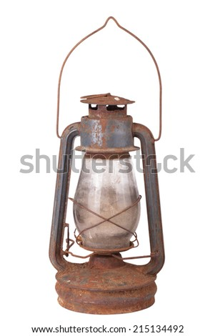 old dirty kerosene lamp isolated on white background  - stock photo