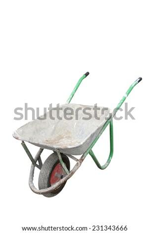 old dirty metallic wheelbarrow isolated over white background - stock photo