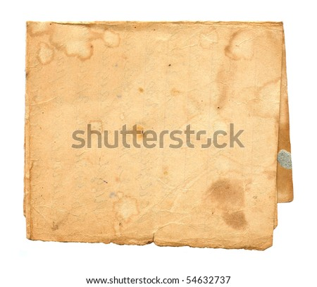 Old dirty paper isolated on white background - stock photo