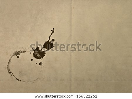 old dirty paper with mug grunge stain - stock photo