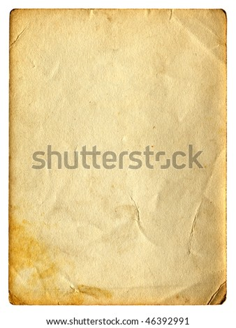 old dirty paper with space for text isolated on the white