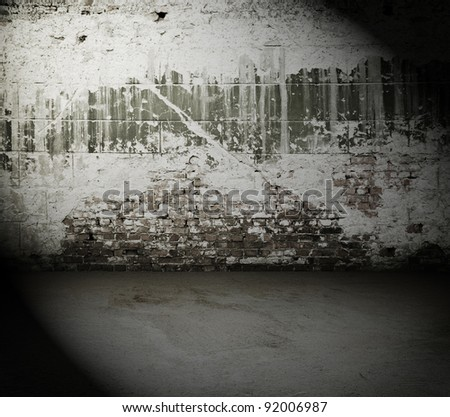 old dirty room with brick wall, vintage background - stock photo