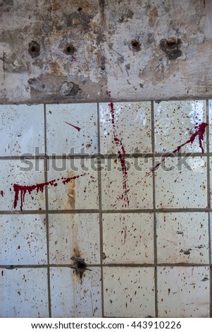 Old dirty wall with white square tiles. - stock photo