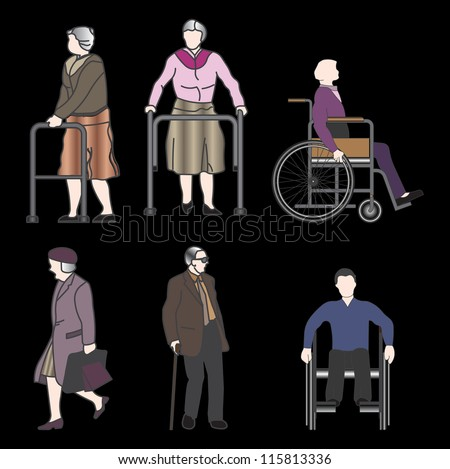 Old disabled people wheelchair flat icon. Medical sign