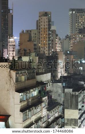 Old district of Hong Kong at night - stock photo