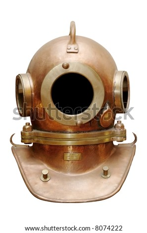 Old diving helmet - stock photo