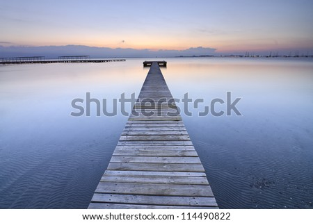 old Dock in the morning at Mar Menor, Spain - stock photo