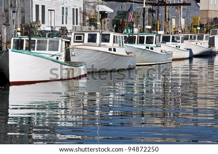 old docks and boats in Portland, Maine, USA - stock photo