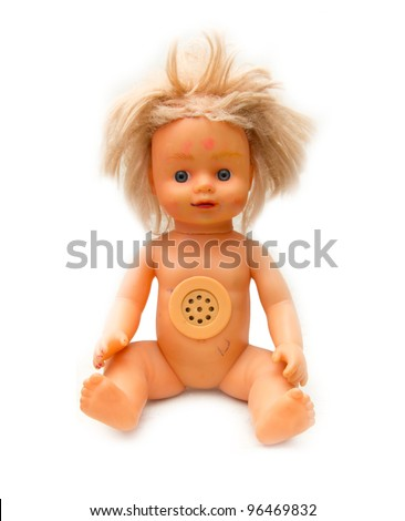 old doll on a white background - stock photo
