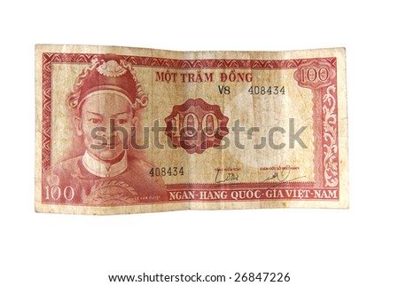 Old Dong bills from Vietnam isolated on white. - stock photo