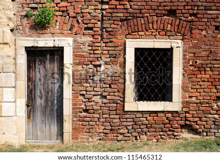 Old door and window - stock photo