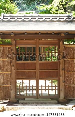 Old door house at Japanese garden  - stock photo
