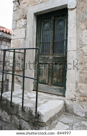 Old door in Dubrovnik, Croatia. - stock photo