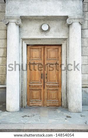 old door in history building - stock photo