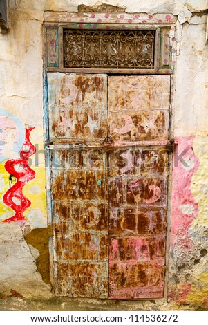 old door in morocco  africa ancient and wall ornate brown  - stock photo