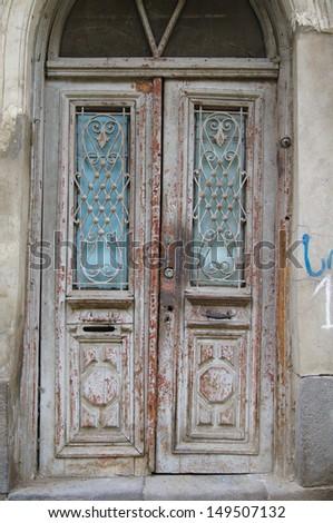 Old door in Old town of Tbilisi, capital city of Republic of Georgia, Caucasus - stock photo
