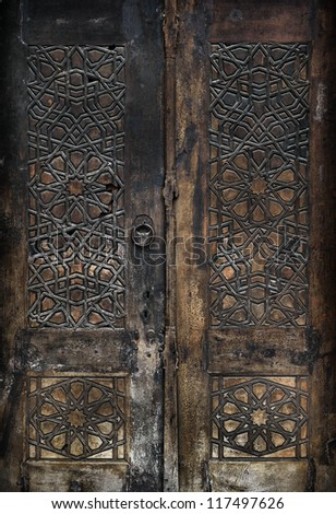 Old door of Beyazit Mosque in Istanbul,Turkey. - stock photo