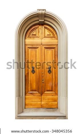 Old door photo isolated on white background - stock photo
