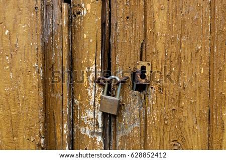 old door with padlock & Old Door Padlock Stock Photo (Royalty Free) 628852412 - Shutterstock