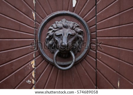 SUPERB COLLECTIBLES COPPER COPPER CARVED LION KNOCKER DOORBELL #22