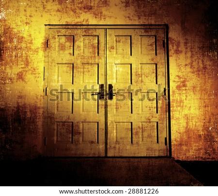 Old Doors Grunge Photoart - stock photo