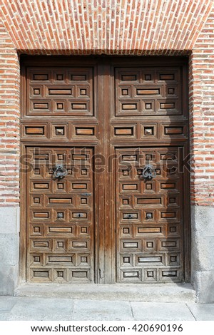 old doors in Madrid - stock photo