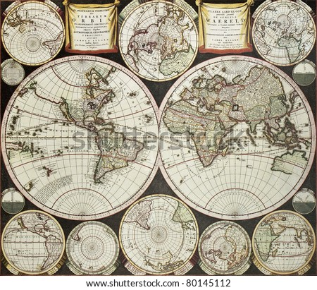 Old double emisphere map of the world surrounded by smallest emispheric projections. Created by Carel Allard, published in Amsterdam, 1696 - stock photo