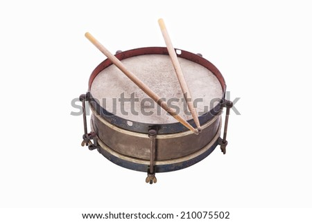 Old drum isolated on white background - stock photo