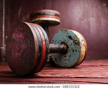 Old  dumbbells - stock photo