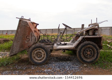 Old Dumper Truck on a construction site - stock photo