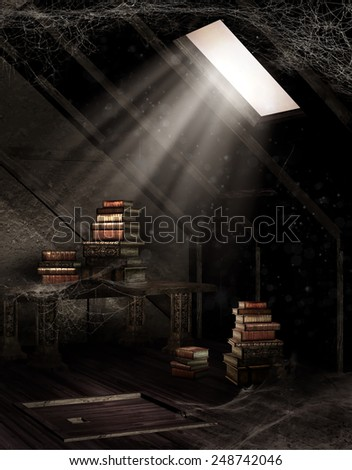 Old dusty attic with books and cobwebs - stock photo