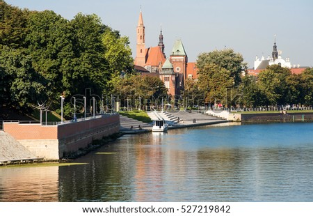 old Eastern European city on the Oder river. Wroclaw, Poland