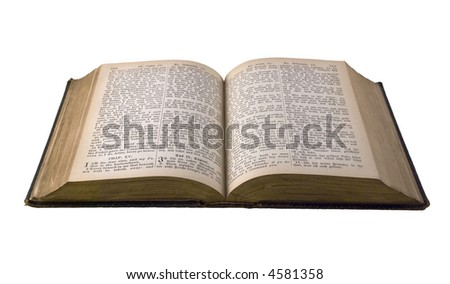 Old  edition of the Holy Bible - English/German. Open book isolated against white background.