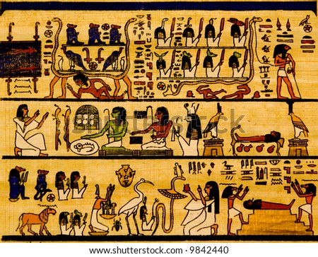 Old egyptian papyrus and hieroglyph