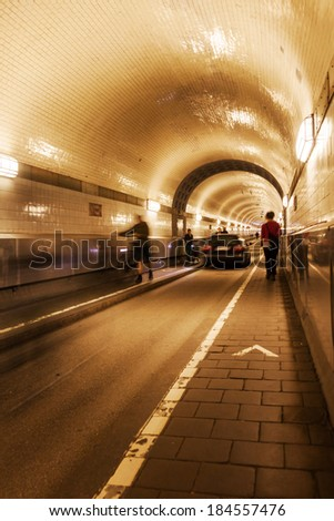old Elbe tunnel in Hamburg, Germany, which connect St Pauli with the docks and shipyards of the Hamburg harbor