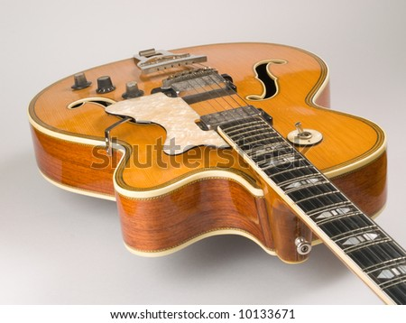 Old electric archtop jazz guitar c1964 - stock photo