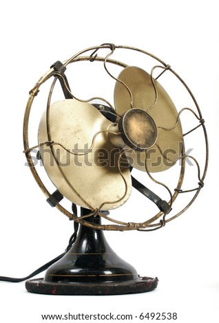 Old electric black metal ventilator - stock photo