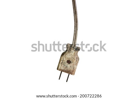 old electric cable on white background