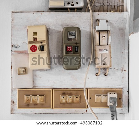 Old electric fuse panel of domestic house