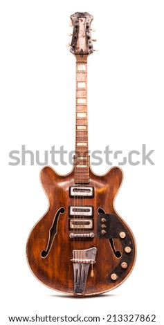 Old electric guitar vertical - stock photo