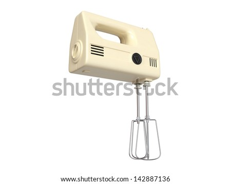 Old electric mixer on white background . 3D image - stock photo
