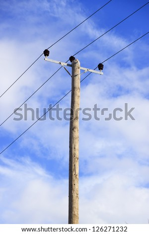 Old electricity pole - stock photo
