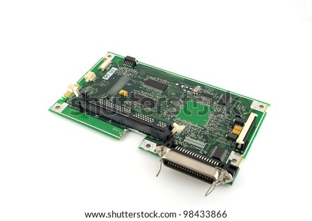 Old electronics circuit board for printer over white - stock photo