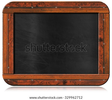 Old Empty Blackboard with Screws / Old blank blackboard with wooden rectangular frame and screws. Isolated on white background