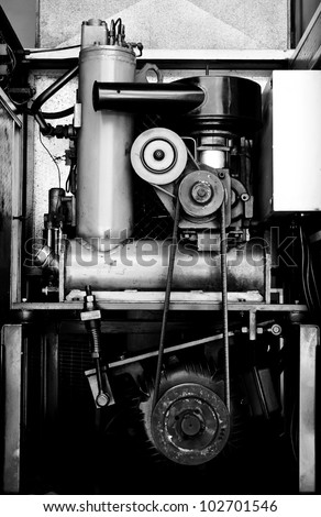 Old engine in black and white