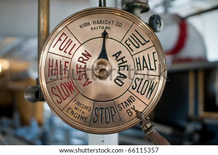 "Old engine order telegraph on ""stand by"" - stock photo"