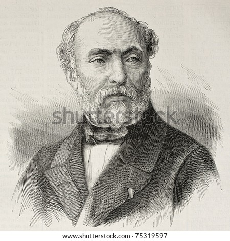 Old engraved portrait of Adrien Dauzats, French orientalist painter, illustrator and lithographer. Create by Chenu, published on L'Illustration, Journal Universel, Paris, 1868 - stock photo