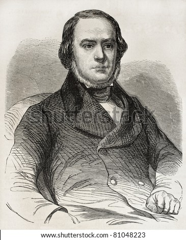 Old engraved portrait of Daniele Manin, Italian statesman from Venice. Hero of Italian unification movement. Created by Marc, published on L'Illustration, Journal Universel, Paris, 1857 - stock photo